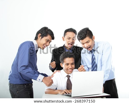 group of happy businessman in work