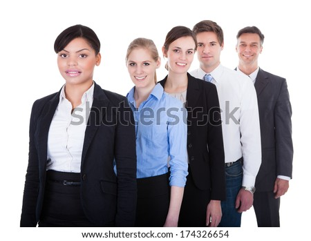 Group Of Happy Businesspeople Standing In A Row Over White Background