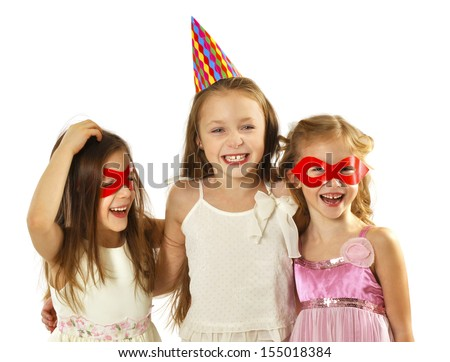 Group of happy children at the carnival - stock photo