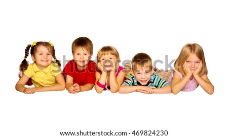 Group of happy children friends laughing. Isolated on white background