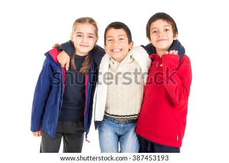 Group of happy children isolated in white