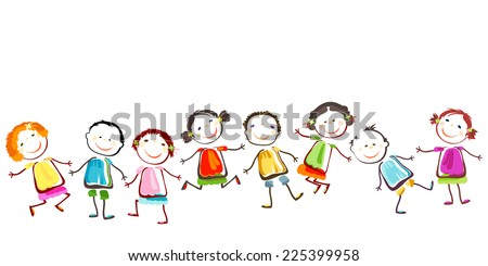 group of happy children playing - stock photo