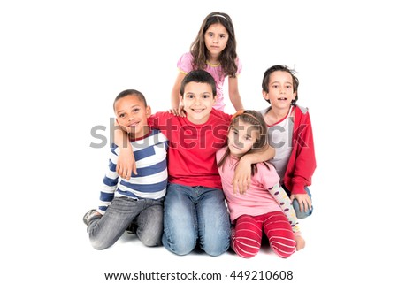 Group of happy children posing isolated in white - stock photo
