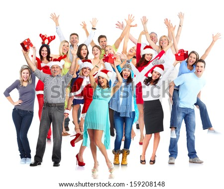 Group of happy dancing people. Christmas party. - stock photo