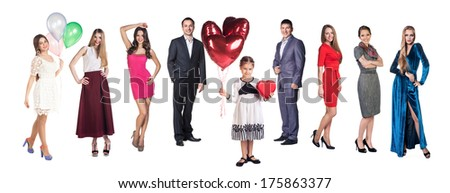 Group of happy friends and little girl with balloons and box over a white background