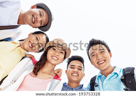 Group of happy friends bonding together - stock photo
