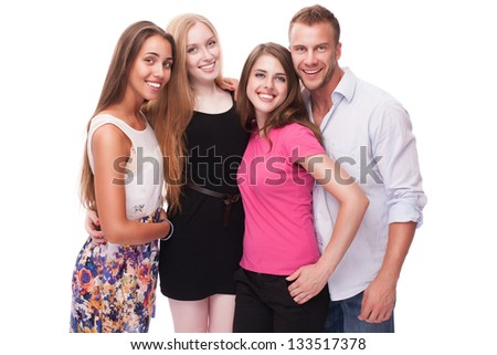 Group of happy friends isolated on white background - stock photo