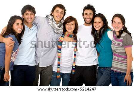 group of happy friends portrait where all look happy and smiling