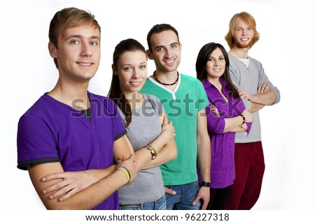 Group of happy friends smiling - stock photo