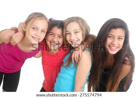 group of happy girls on white background - stock photo