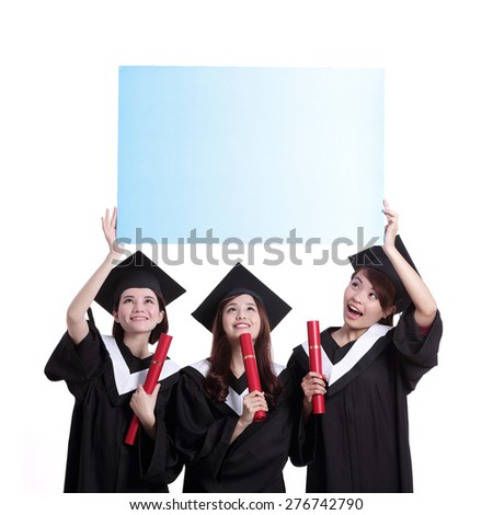 group of happy graduates student girl show blank billboard isolated on white background, asian