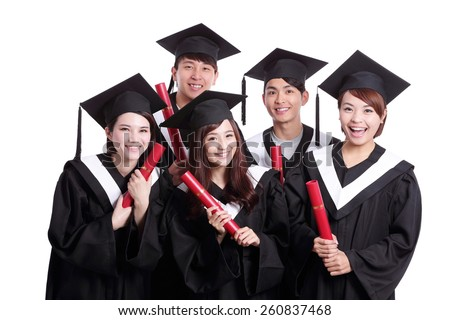 group of happy graduates student isolated on white background, asian - stock photo