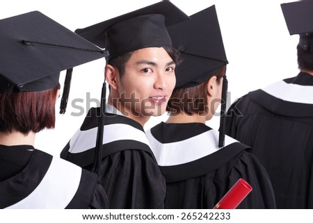 group of happy graduates student isolated on white background, asian