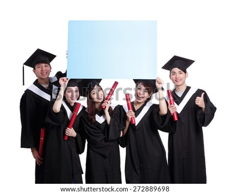 group of happy graduates student show blank billboard isolated on white background, asian