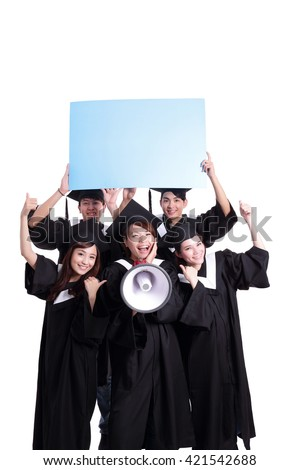 group of happy graduates student show blank billboard isolated on white background, asian - stock photo
