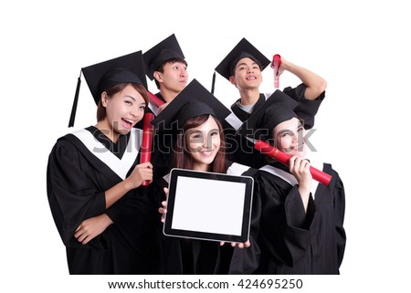 group of happy graduates student show digital tablet pc with empty screen isolated on white background, asian