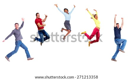Group of happy jumping people isolated on white background. - stock photo