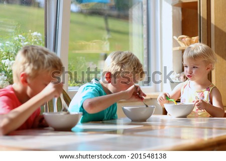 Group of happy kids, two brothers and little sister, having healthy breakfast sitting at wooden table in sunny kitchen with beautiful garden view windows - stock photo