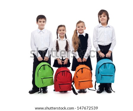 Group of happy kids with schoolbags - back to school concept, isolated