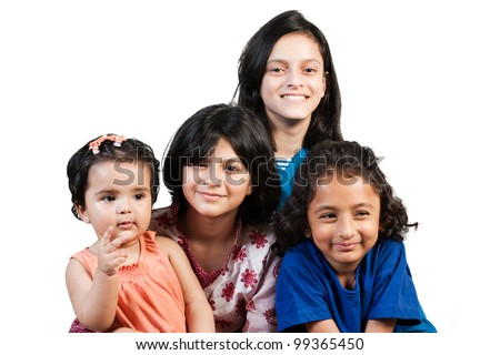 group of happy little girls - stock photo
