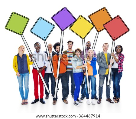 Group of Happy Multi-Ethnic People Holding Sign Poles Concept - stock photo