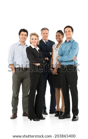 Group Of Happy Multi Racial Businesspeople Standing On White Background - stock photo