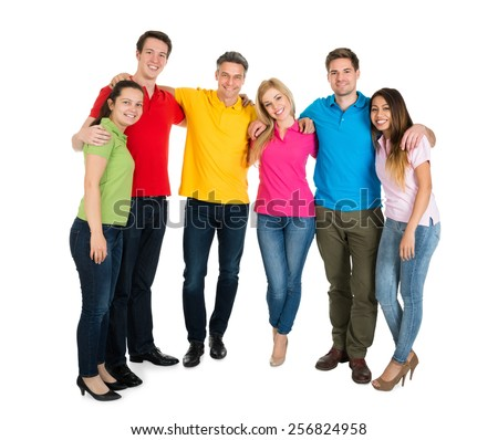 Group Of Happy Multiethnic Friends Over White Background