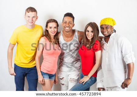 Group of happy multiracial people. Study, students. School. Speak english. International person - stock photo