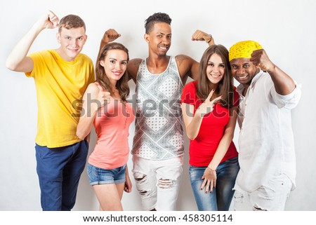 Group of happy multiracial people. Study, successful students. School. Speak english. International person. Multi-ethnic. Back to school - stock photo
