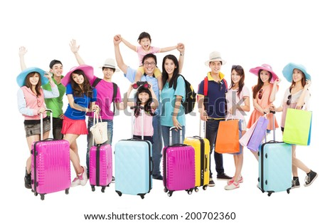 Group of happy people are ready to travel together - stock photo