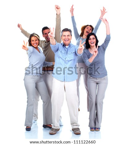 Group of happy people dancing together. Party. Isolated on white background.