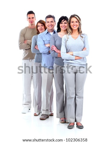 Group of happy people. Isolated over white background - stock photo