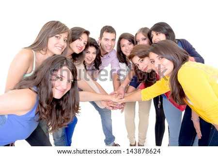 Group of happy people, joining hands. Isolated on white background. - stock photo