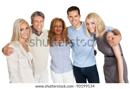 Group of happy people smiling isolated over white background - stock photo