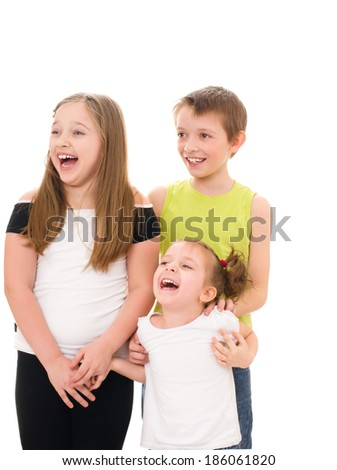 Group of happy smiling children, isolated on white - stock photo