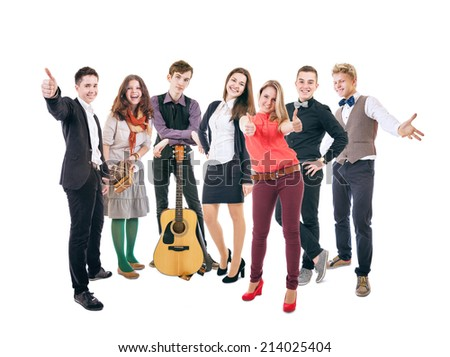 Group of happy smiling students - stock photo