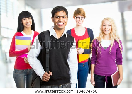 Group of happy students - stock photo
