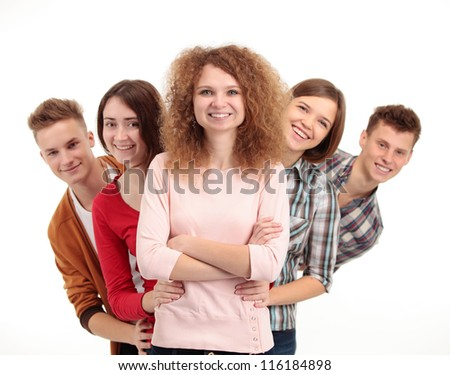 group of happy students full of success isolated over a white background - stock photo
