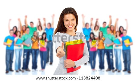 Group of happy students. Isolated over white background - stock photo