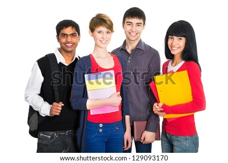 Group of happy students on a white background - stock photo