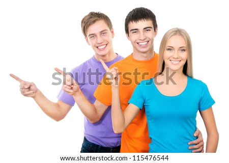 Group of happy students pointing on white background - stock photo