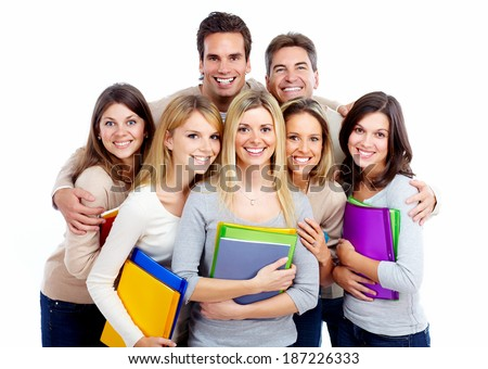 Group of happy students with books isolated on white background.