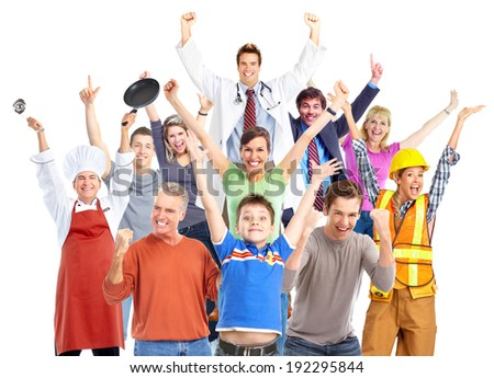 Group of happy workers people isolated on white background. - stock photo