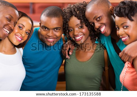 group of happy young african american students - stock photo