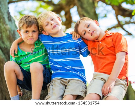 Group of Happy Young Kids, Best Friends - stock photo