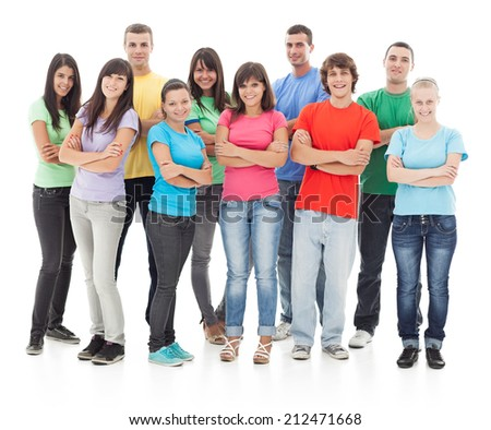 Group of happy young people posing against a white background.