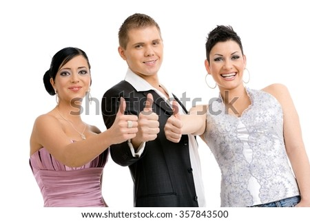 Group of 3 happy young people. wearing party clothes, showing OK. Isolated on white background. - stock photo