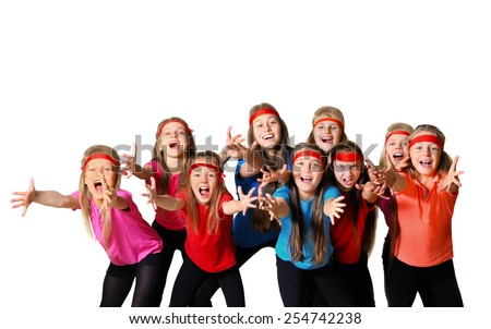Group of happy young sporty people - stock photo