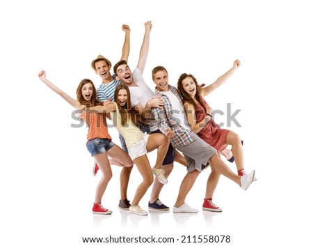 Group of happy young teenager students having fun, isolated on white background. Best friends - stock photo