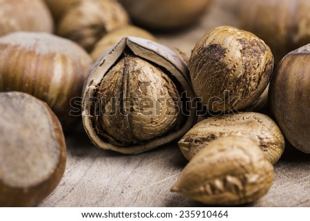 group of hazelnuts no the wood - stock photo